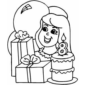 Kids 8th Birthday coloring page