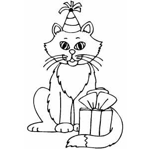 Kitty Birthday Coloring Page