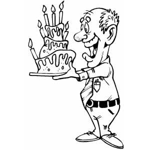 Man With Birthday Cake coloring page