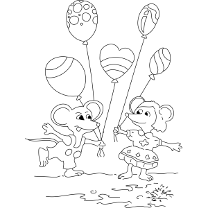 Mice and Balloons coloring page
