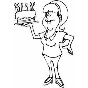 Mom And Cake coloring page