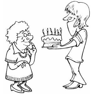 Woman Giving Cake To Grandma coloring page