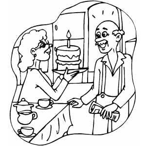 Woman Presents Cake To Man coloring page