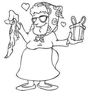 Woman With Gifts coloring page