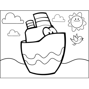 Cute Ship coloring page