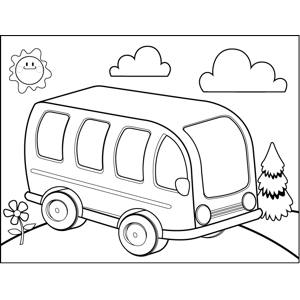 Bus on Hill coloring page