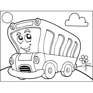 Cartoon Bus coloring page