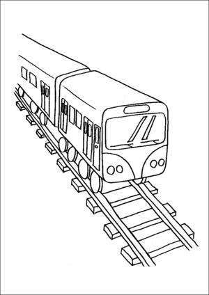 Modern Train And Tracks coloring page