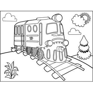 Train and Railroad Track coloring page