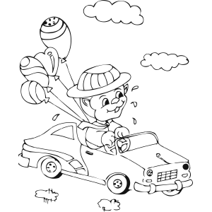 Animal Car with Balloons coloring page