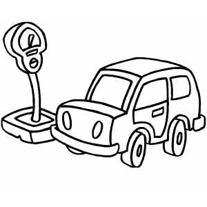 Car And Meter coloring page