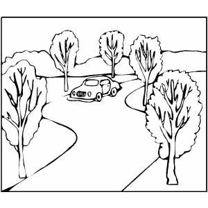 Car On Road Coloring Page
