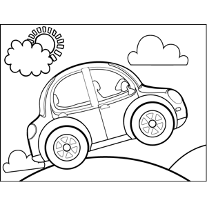 Car Popping Wheelies coloring page