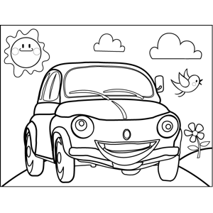 Car with Face coloring page