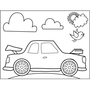 Car with Popped Trunk coloring page