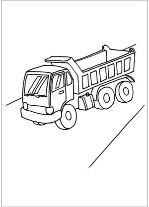 Dump Truck On Road coloring page