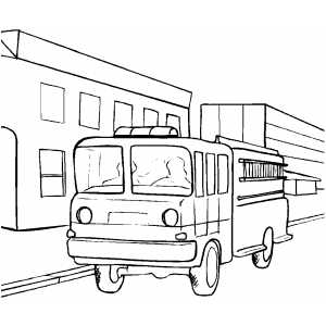Fire Truck Parked coloring page
