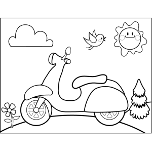 Moped coloring page