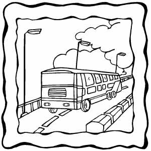 Moving Bus On Frame coloring page
