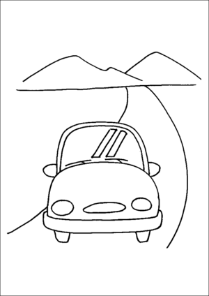 Small Car On Road coloring page
