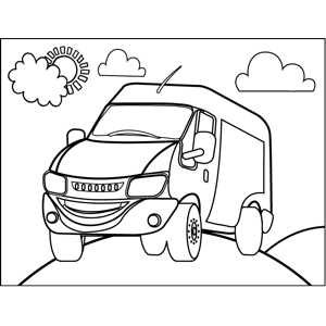 Smiling Truck coloring page