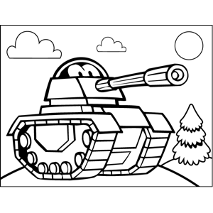 Tank with Face coloring page