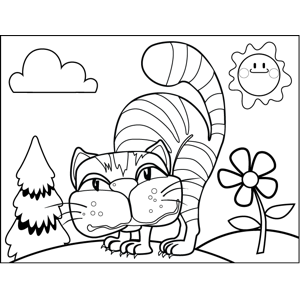 Angry Hissing Cat coloring page