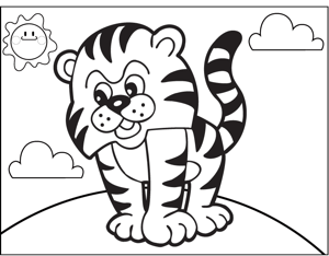 Angry Tiger coloring page