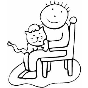 Cat And Child On Chair coloring page
