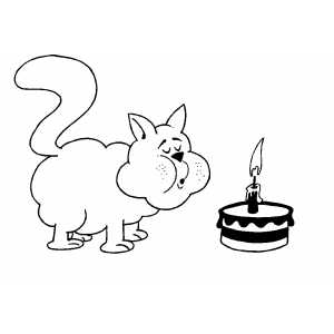 Cat Blowing Out Candle On Cake coloring page