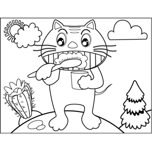 Cat Brushing Teeth coloring page