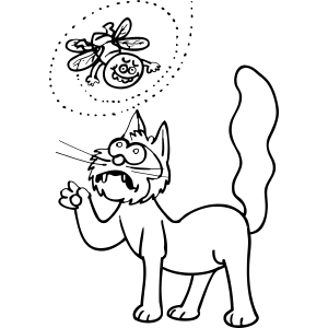 Cat Fights Bug coloring page