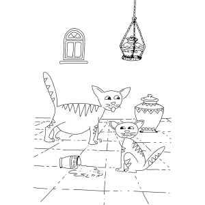 Cat Friends Spilled Milk coloring page