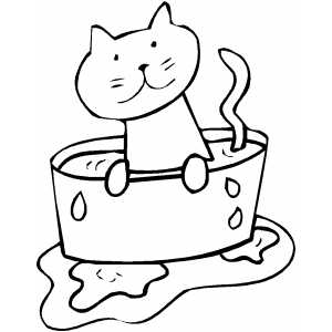Cat In Bowl With Water coloring page