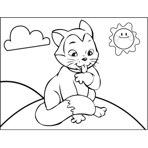 Cat Licking Paw coloring page
