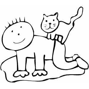 Cat On Kid Back coloring page