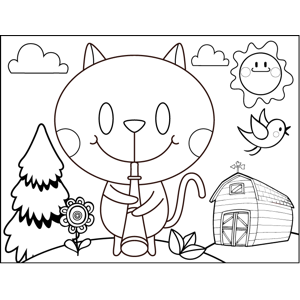 Cat Playing Clarinet coloring page