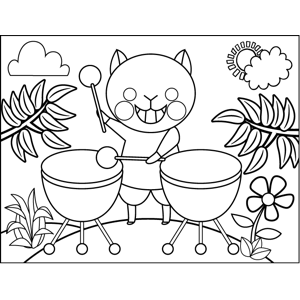 Cat Playing Drums coloring page