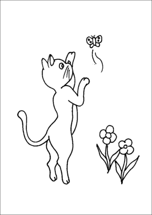 Cat Playing With Butterfly coloring page