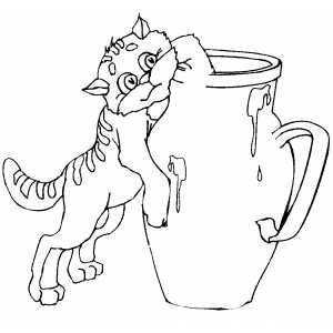 Cat Trying To Reach Milk coloring page