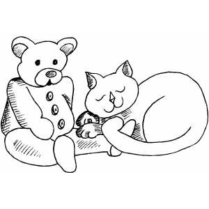 Cat With Bear Toy coloring page