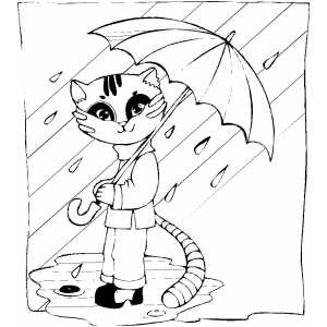 Cat With Umbrella Under Rain coloring page