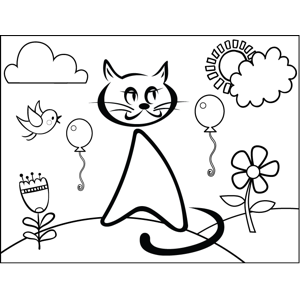 Cat and Balloons coloring page