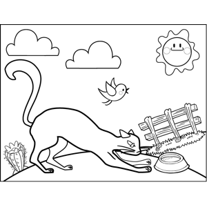 Cat and Dish coloring page
