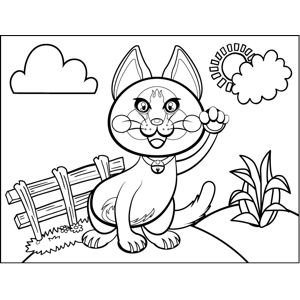 Cat by a Fence coloring page