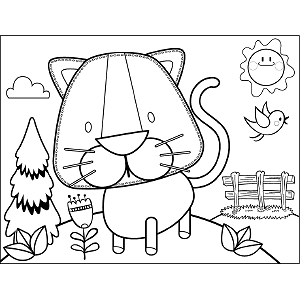 Cat in Meadow coloring page