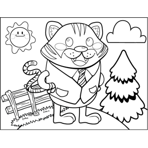 Cat in a Suit coloring page