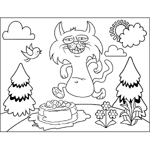 Cat with Cake coloring page