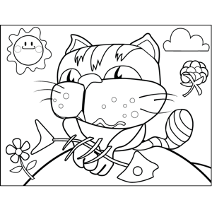Cat with Fish Bones coloring page