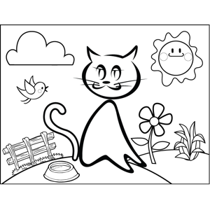 Cat with Food Dish coloring page